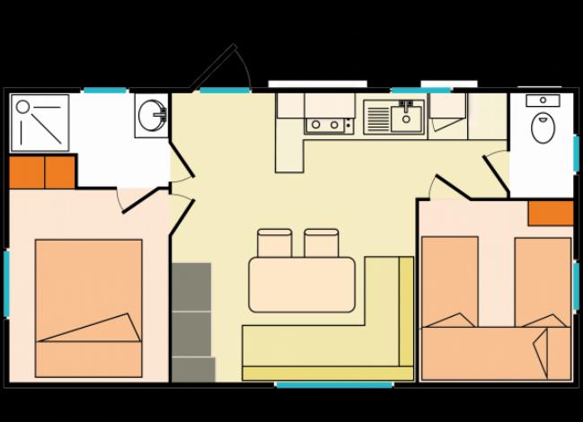 camping les vignes 5 lit et mixe atlantique sud france avec voyages leclerc locatour ref 51234. Black Bedroom Furniture Sets. Home Design Ideas