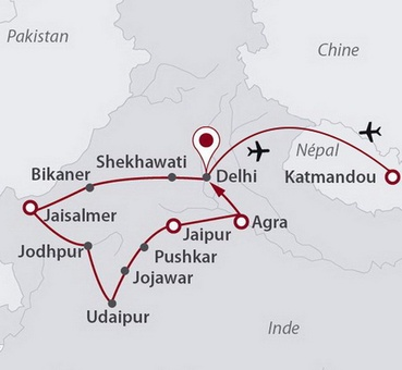 Carte Rajasthan Auray.Circuit Nepal A Partir De 2190